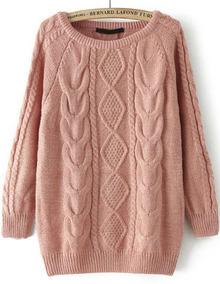 Jersey suelto de punto-rosado