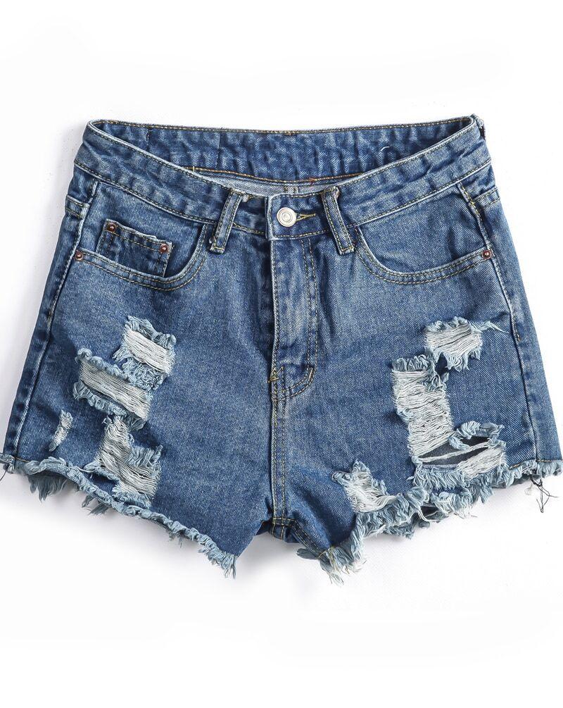 Pockets Ripped Fringe Denim ShortsFor Women-romwe
