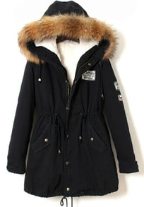 Faux Fur Trim Hood Navy Coat