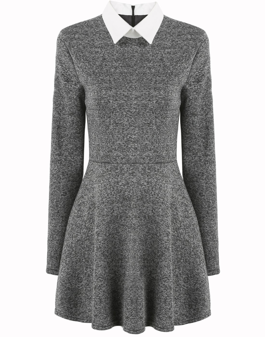 Contrast Collar Pleated Dress -ROMWE 9d7094b44
