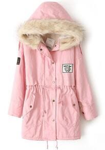 Zipper Embellished Fleece Inside Military Pink Coat