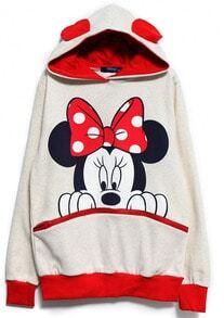 Mickey Hooded Loose White Sweatshirt