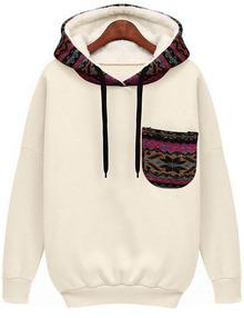 Hooded Pocket White Sweatshirt