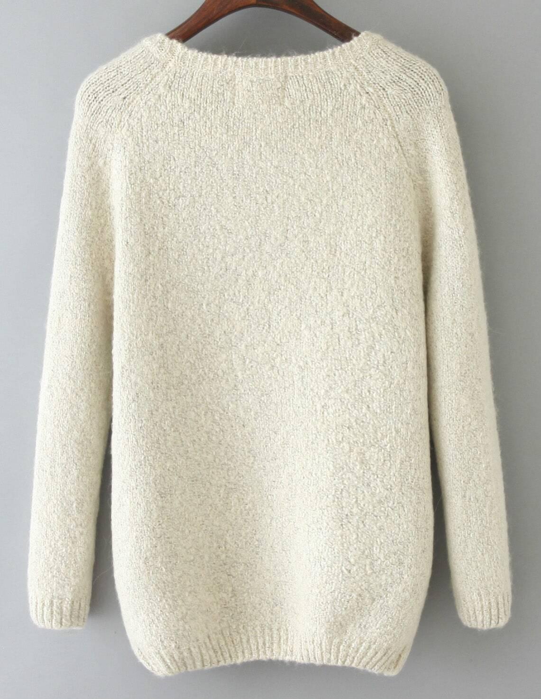 Snowman Pattern Knit White Sweater
