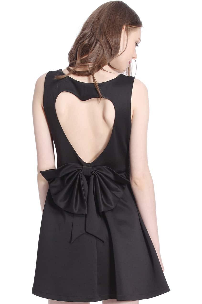 ROMWE Heart-shaped Cutout Sleeveless Black DressFor Women ...