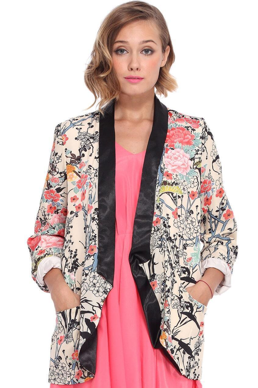 Contrast Trimming Buttonless Floral Print Blazer Mobile Site
