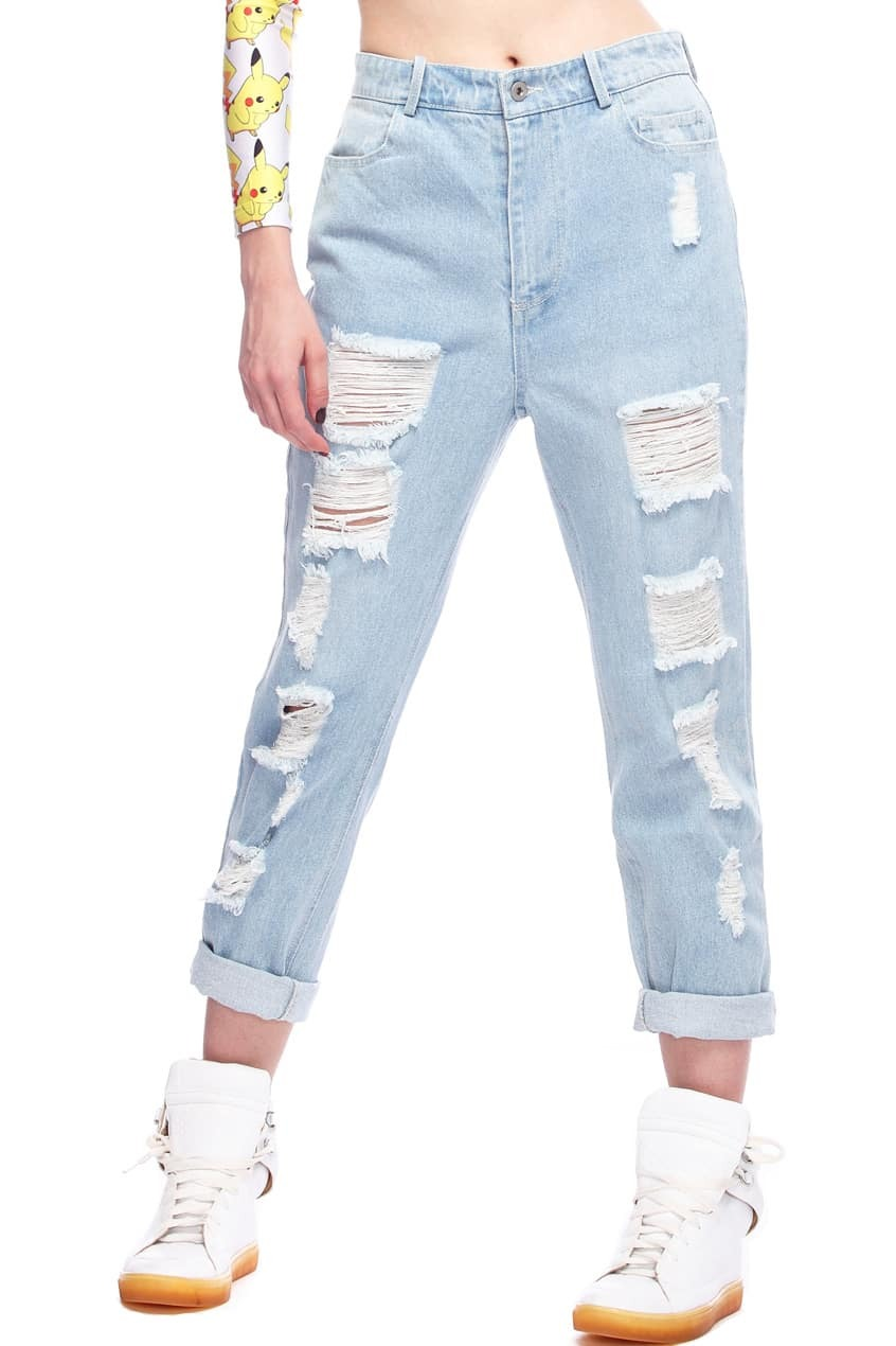 Distressed Light Blue Jeans Mobile Site
