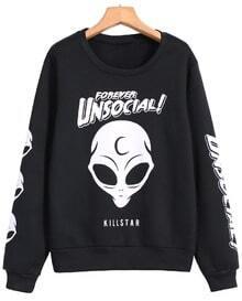 Skull Letters Print Black Sweatshirt