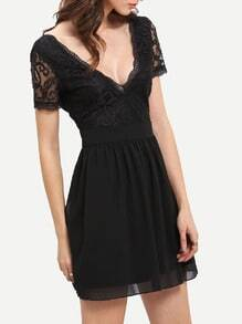 Deep V Neck Lace Pleated Dress