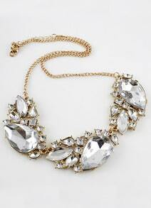 White Gemstone Gold Geometric Chain Necklace
