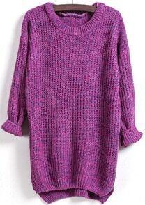 Dipped Hem Loose Knit Purple Sweater