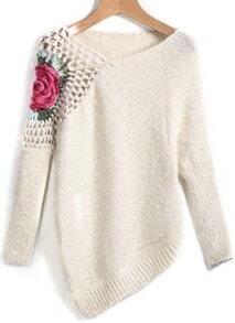 Jersey suelto Floral Crochet