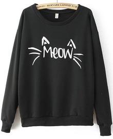 Sweatshirt mit MEOW Katze Druck-schwarz