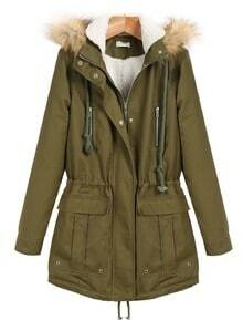 Green Faux Fur Hooded Long Sleeve Zipper Drawstring Coat