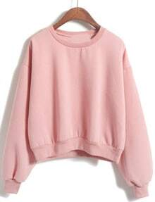 Sweatshirt col rond court - Rose