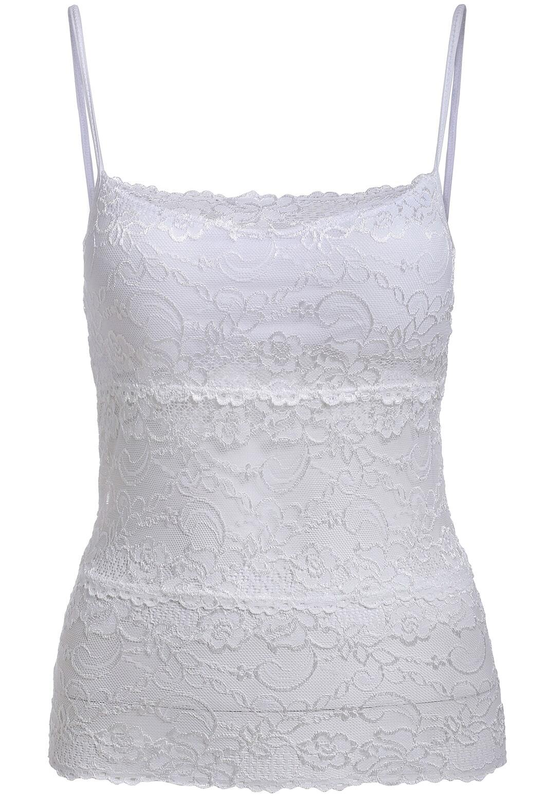 eec2671032 White Spaghetti Strap Sheer Lace Cami Top