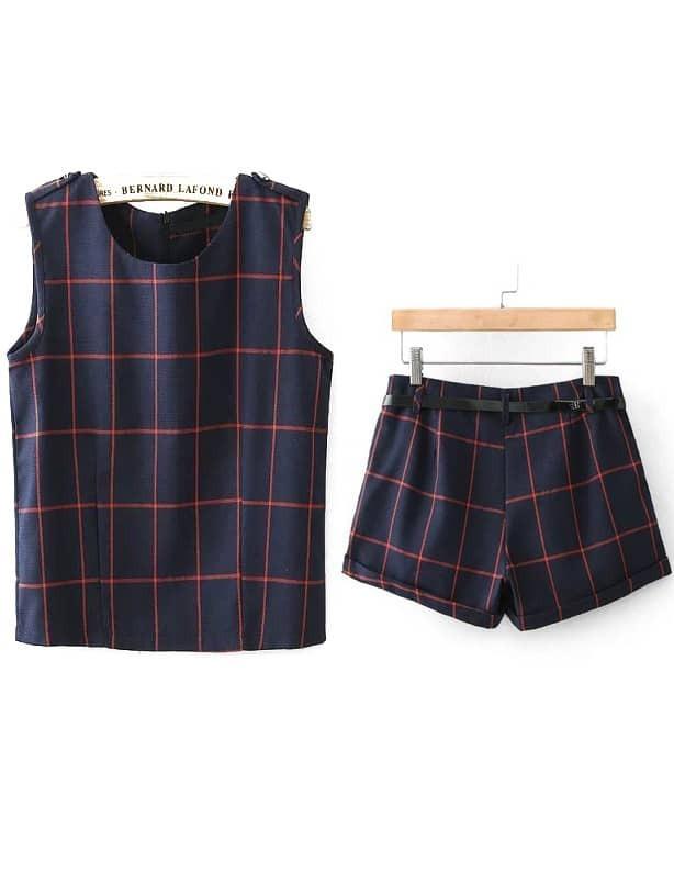 top plaid sans manche avec shorts bleu marine french romwe. Black Bedroom Furniture Sets. Home Design Ideas