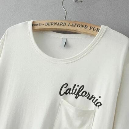 White Short Sleeve Letters Print Pocket T-Shirt