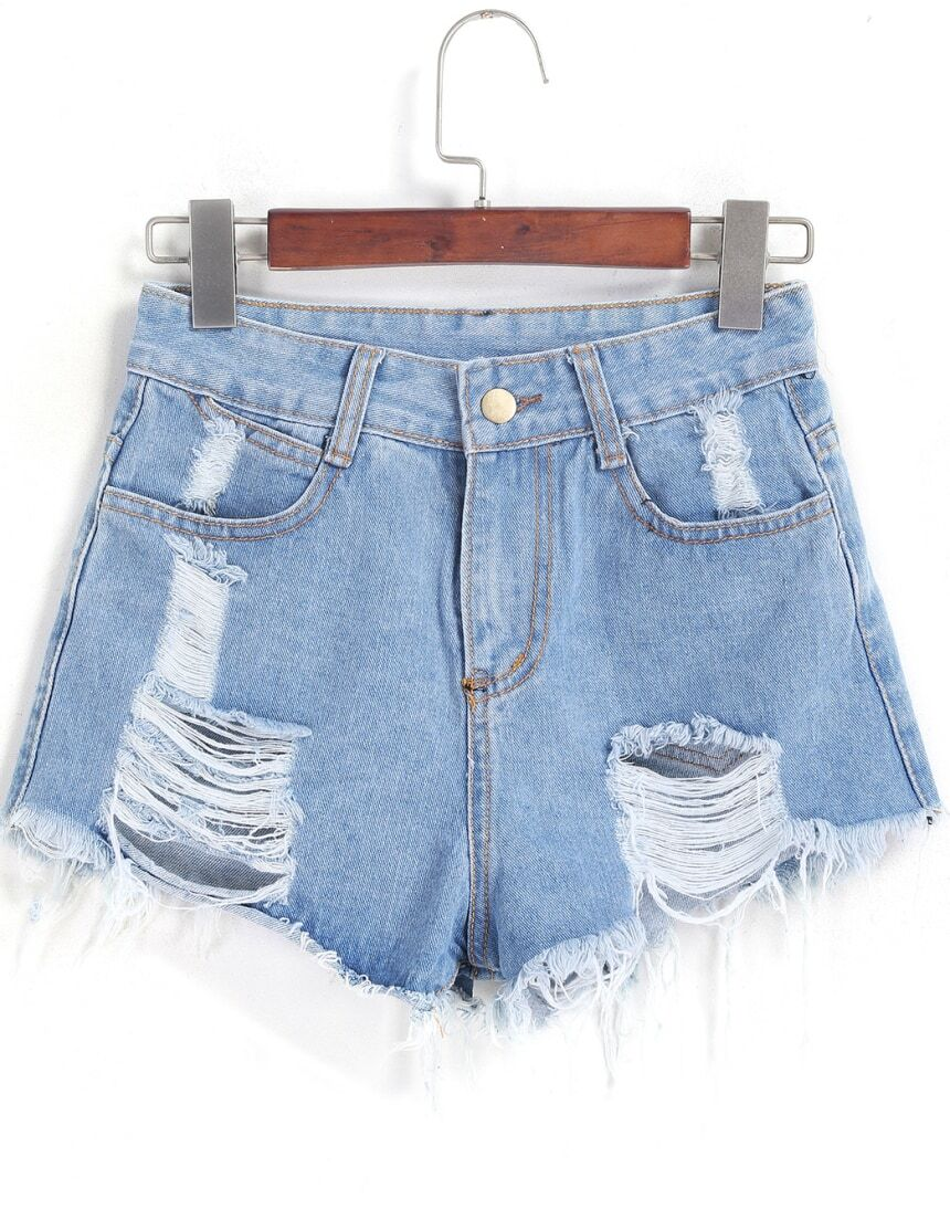 Ripped Fringe Denim Pale Blue Shorts Mobile Site