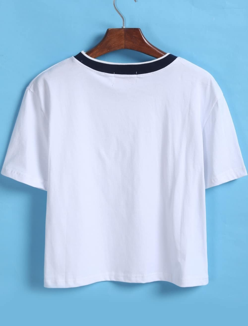 Contrast collar loose crop white t shirt for Cropped white collared shirt