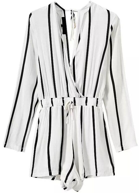 b4984273ca81 Deep V Neck Vertical Striped Jumpsuit