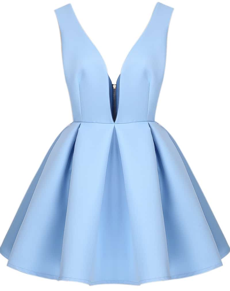19c5570416 Blue V Neck Backless Midriff Flare Dress