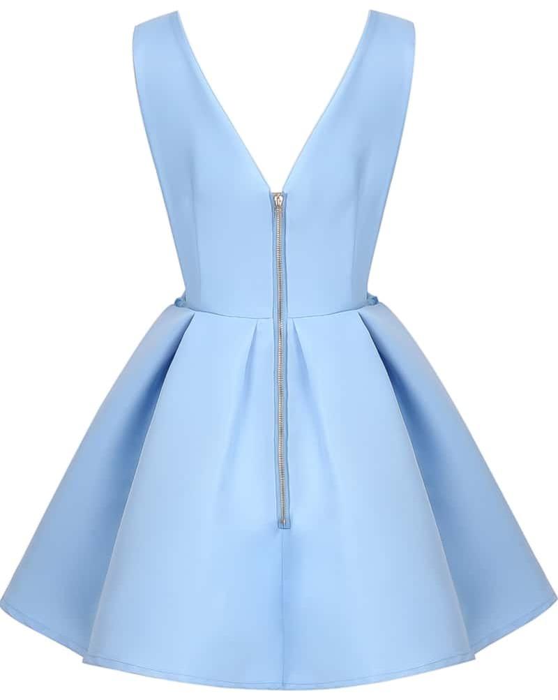 d54a26ed8 Blue V Neck Backless Midriff Flare Dress | ROMWE