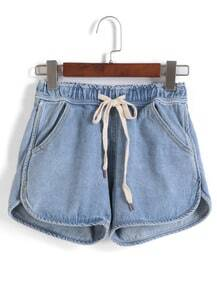 Drawstring With Pockets Denim Shorts