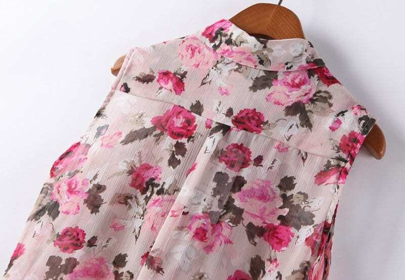 Red Floral Chiffon Blouse 14