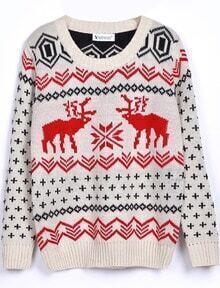 Beige Long Sleeve Deer Print Loose Pullovers Sweater
