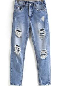 Blue Bleached Ripped Pockets Denim Pant