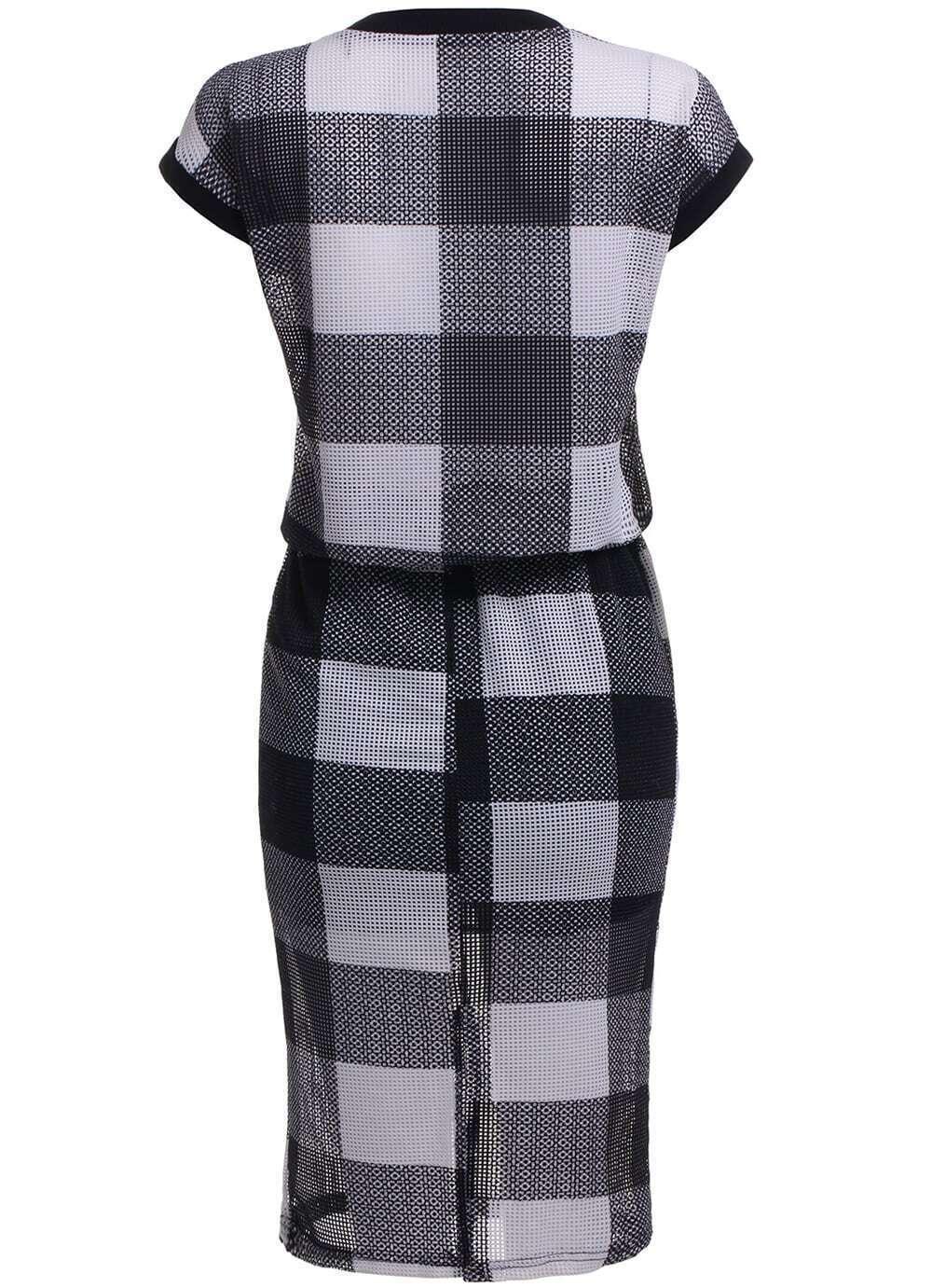 top manches courtes plaid avec jupe taille lastique noir french romwe. Black Bedroom Furniture Sets. Home Design Ideas