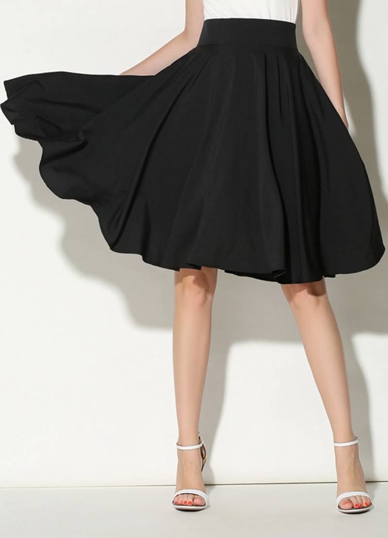 10c4ff37ea23f6 jupe plissée taille haute -Noir