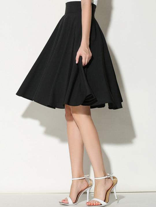 jupe plissée taille haute -Noir