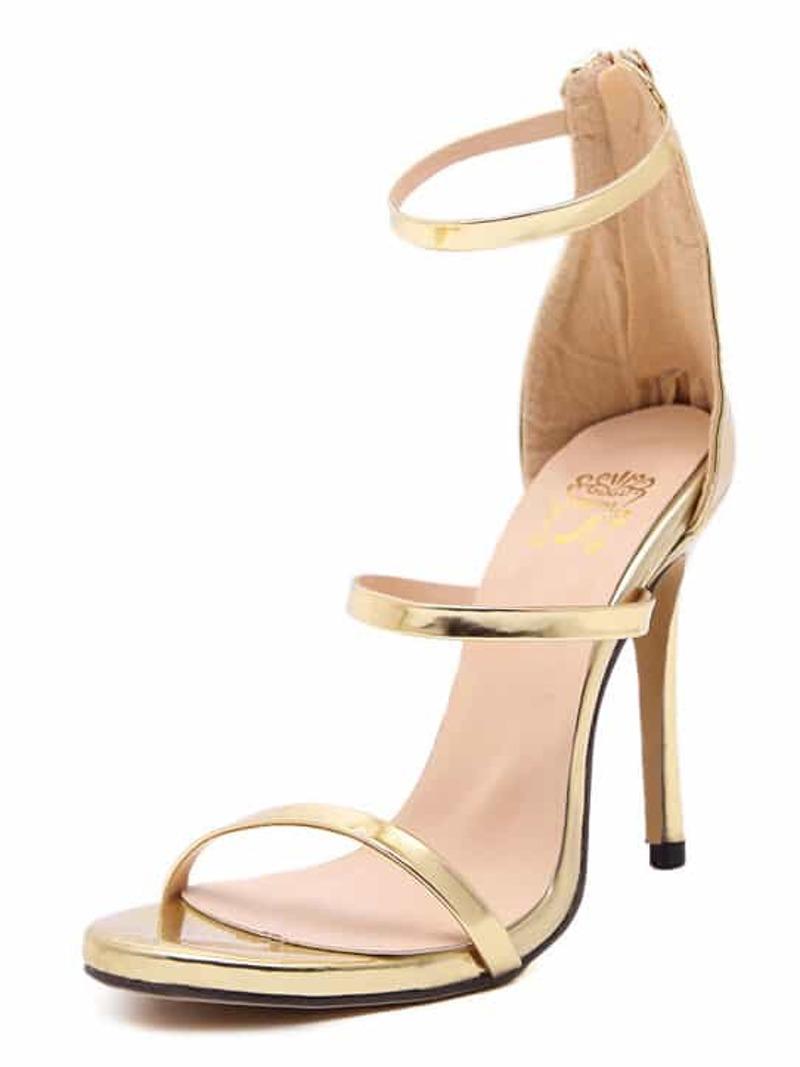 Sandals Strap Ankle High Heel Gold lKJ1cFT