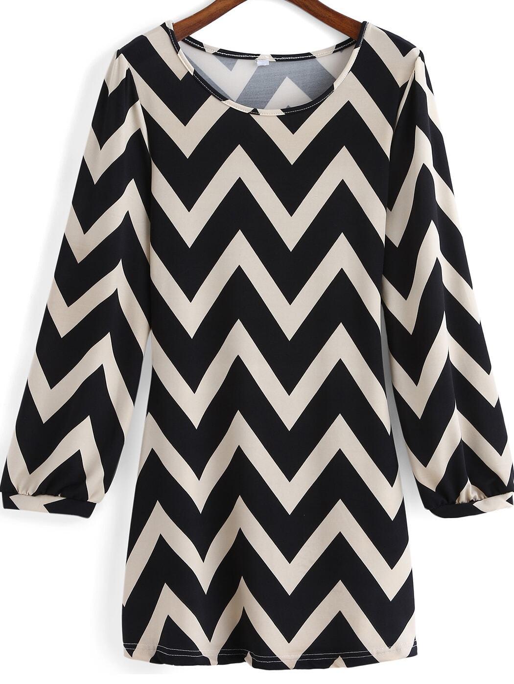 vestido manga largo zigzag negro