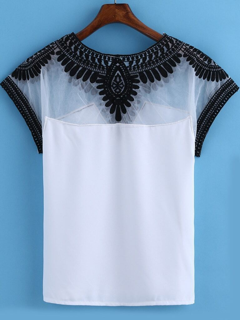 White round neck embroidered mesh t shirt for Embroidered mesh t shirt