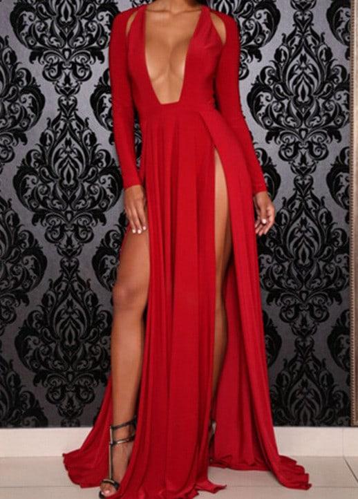 1e61ee98b22d Red Deep V Neck Split Maxi Dress