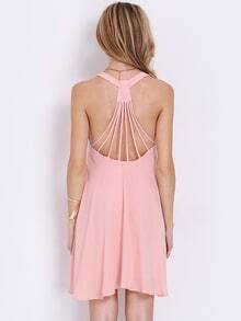 Pink Sleeveless Backless Pleated Dress