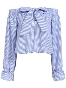 Fashion Crush  Boat Neck With Bow Vertical Striped Blue Top