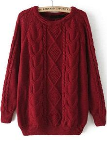 Cable Knit Loose Wine Red Sweater