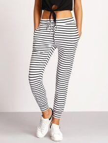Hose mit Streifen und Tunnelzug an der Taille-weiß und schwarz