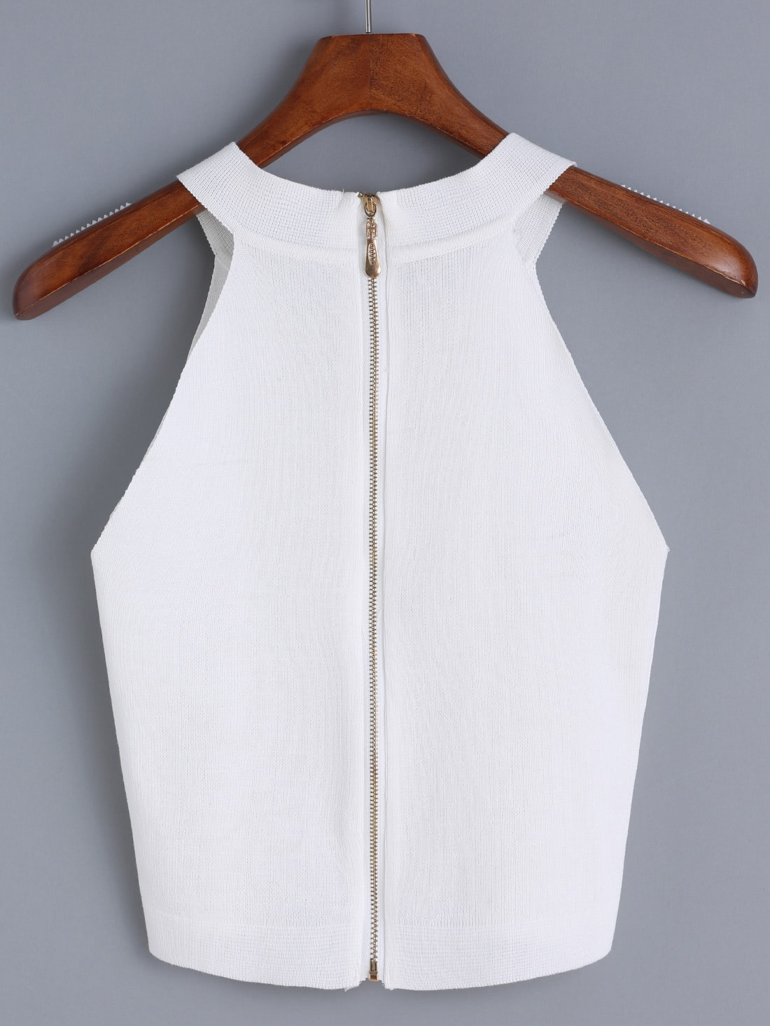 Halter Zipper Knit Cami TopFor Women-romwe