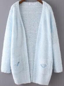 Open-Knit Shaggy Pockets Blue Cardigan