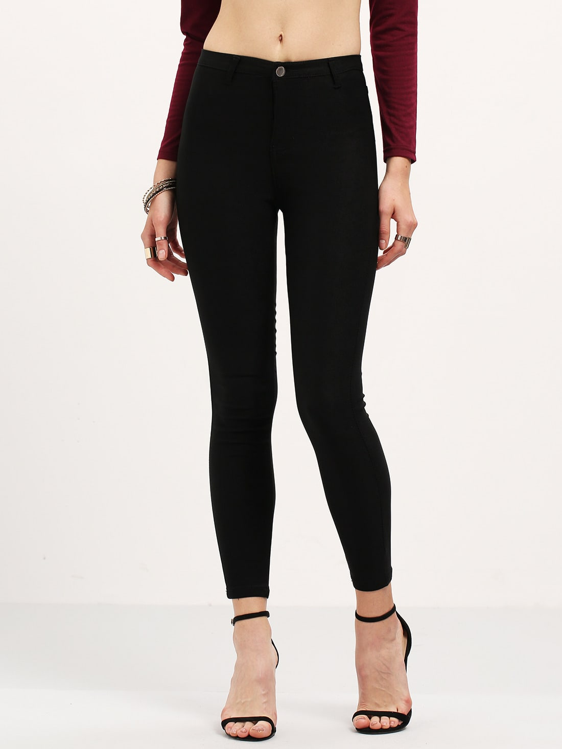 pantalon taille haute amincissant en denim noir french romwe. Black Bedroom Furniture Sets. Home Design Ideas