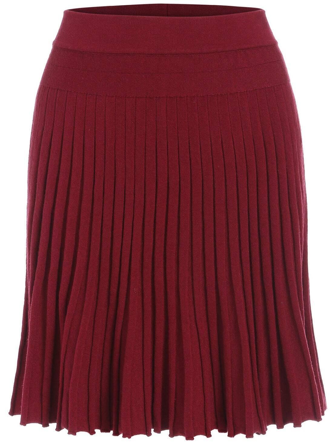 knit pleated maroon skirt