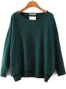 Round Neck Dip Hem Royal Green Sweater
