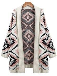 Apricot Long Sleeve Geometric Knit Cardigan Sweater
