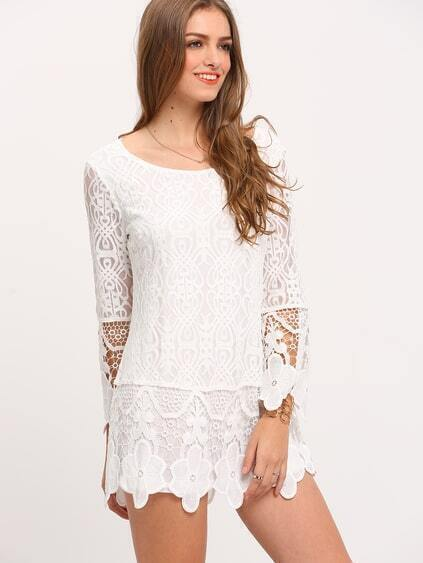 8d07d3b6c03e White Long Sleeve Crochet Lace Dress   ROMWE