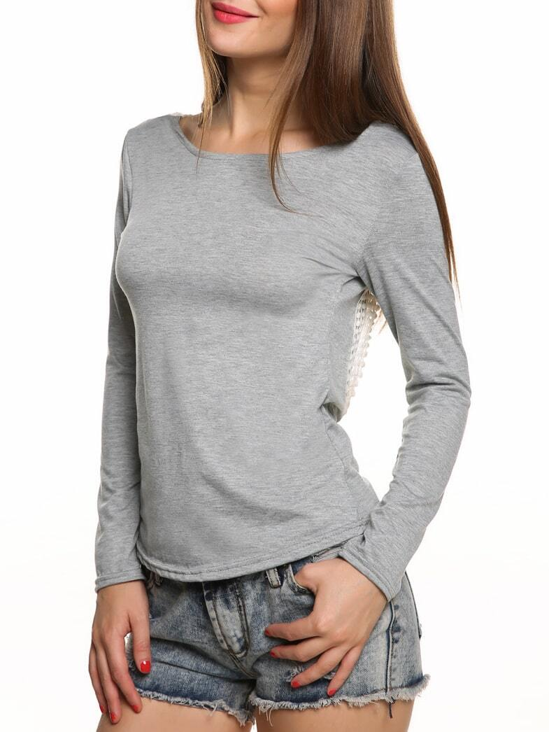Long sleeve open back crochet t shirt for Long sleeve open shirt